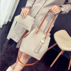 Joyism Handbag 2PCS Graceful Solid Color Design Women Luxury Bags Black f Gray f