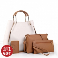 JoyismHandbags 4PCS Classic Fashion Women Luxury Handbag Shoulder Bags Tote White f