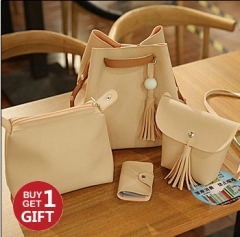 Joyism Handbags 4PCS Graceful Solid Color Design Women Luxury Shoulder Bags Tote yellow f