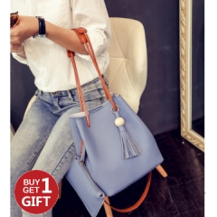 Joyism Handbag 2PCS Graceful Solid Color Design Women Luxury  Bags Blue f