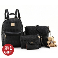 Joyism Women Backpack + Message Bag+Wallet + Card  Luxury PU Leather Genuine Bag black f