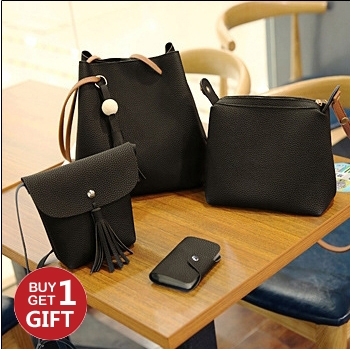 Joyism Handbags 4PCS Graceful Solid Color Design Women Luxury Shoulder Bags Tote black f