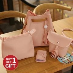 Joyism Handbags 4PCS Graceful Solid Color Design Women Luxury Shoulder Bags Tote pink f