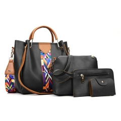 Joyism Handbags 4pcs Set Panelled Pattern Fashion Women Shoulder Bags black f