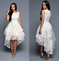 women sleeveless  three layers white party dress cocktail dress S White