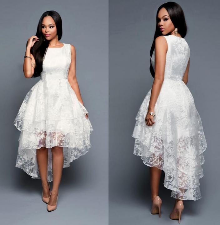 dc28b4a2cd7 women sleeveless three layers white party dress cocktail dress L White