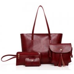 Handbags 4 PCS Graceful Solid Color Design Women Shoulder Bags Tote red f