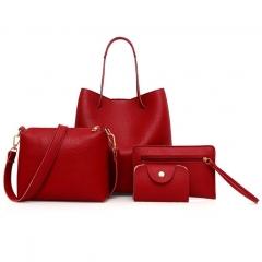 Joyism Handbags 4PCS Women Handbag + Message Bag+Wallet + Card Bag red f