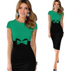Elegant Bowknot Colorblock Pencil Dress s Green