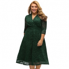 Fashion large size women mini dress sexy V collar seven sleeve dress dark green xxl