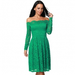 New sexy Strapless Lace Collar sleeve slim waist dress green m