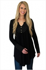 New winter color V collar, long sleeve Polka Dot stitching fold, long casual jacket head black xl