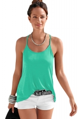 Summer style new round neck sling, sleeveless back cross ribbon, pure color T-Shirt Top black xl