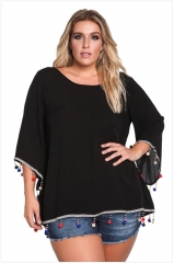 XL - seven point sleeve loose solid Halter pullover shirt black xl