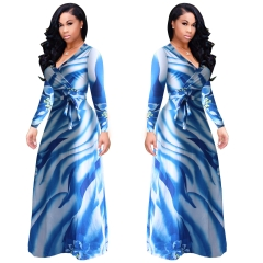 Hot sexy awesome digital printing fashion wind swing dress Blue l