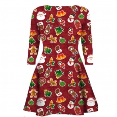 European and American fashion digital printed pleat long sleeved Christmas Dress S3111 S