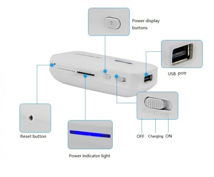 IOVST Multifunction POWER BANK 5200MAH blue 5200