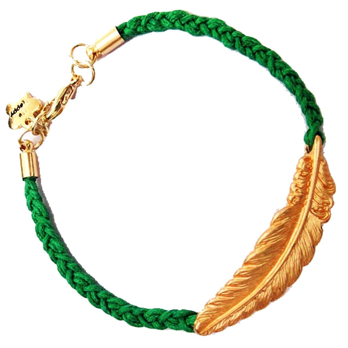 4b9ad8360018b Women Lady Jewelry Gold Tone Feather Leaf Woven Rope Friendship Bracelet  Bangle 2*Green 23mm x 45mm
