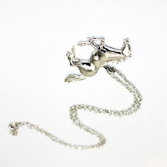 Little Pony Necklaces Stainless steel Horse Pendant Necklace for Birthday Gift silver 43x0.5cm