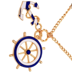 Fashion Personality navy anchor pendant necklace jewelry 2PCS 43x0.5cm