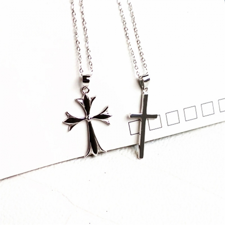 6107e130bfe Classic Smooth Cross Necklaces Prayer Christ Men Jewelry Sterling Silver Men  Women Free Chain 2*