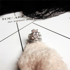 Female Water Drop Crown Diamond Ring 925 Sterling Silver Engagement Wedding Band Ring for Women 2*silver 44-60mm