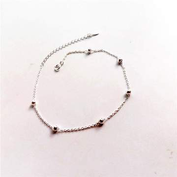 2017 Fashion Charm 925 Sterling Silver Anklets for Women Silver Chain Silver Bead Real Silver Anklet silver 20cm