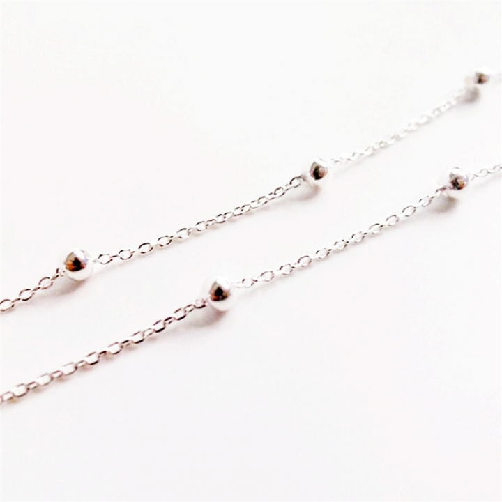 2017 Fashion Charm 925 Sterling Silver Anklets for Women Silver Chain Silver Bead Real Silver Anklet 2*silver 20cm