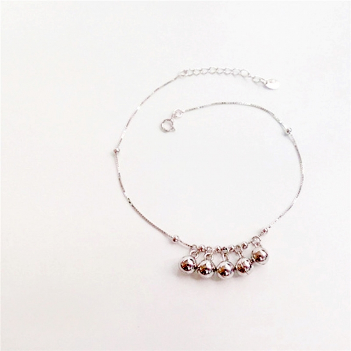 925 Sterling Silver Bell Anklet Women Fashion Jewelry silver 20cm