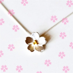 Fashion 925 Sterling Silver Necklaces Pendants Cherry Blossoms Flower Necklace for Women silver 40cm