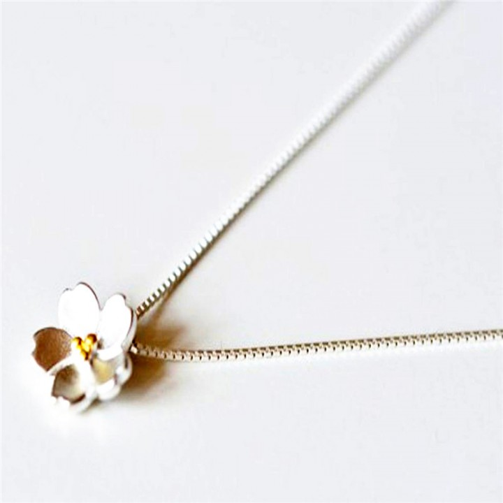 Fashion 925 Sterling Silver Necklaces Pendants Cherry Blossoms Flower Necklace for Women 2 * silver 40cm