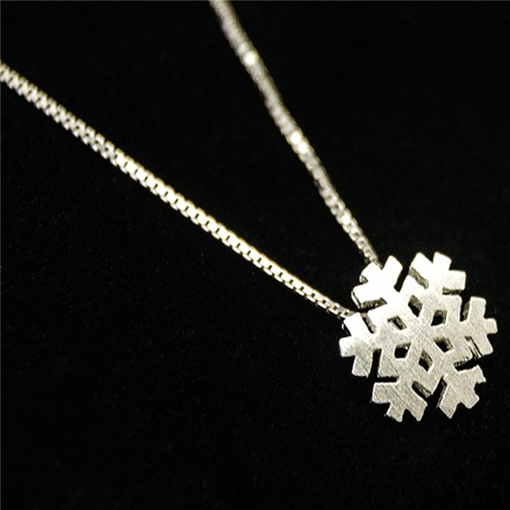 Fashion  Christmas Gift S925 Sterling Sliver Necklace  Sliver Snow Pendants Chain Necklace 2*silver 40cm