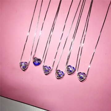 925 Sterling Silver Crystal Cube Necklace Pendants for women collares Jewelry Love shape 40cm