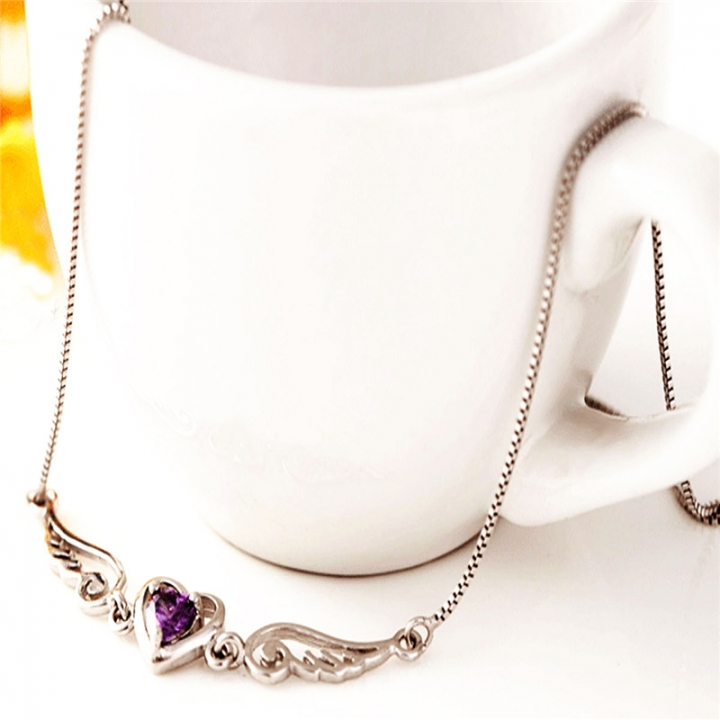 Fashion Angel Wings 925 Pure Silver Heart Lover Necklaces Accessories Birthday Day Gift purple 40cm