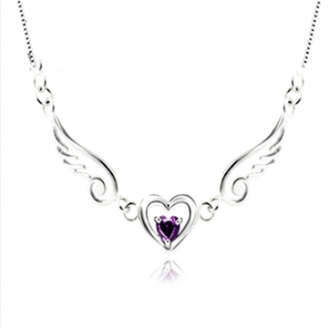 Fashion Angel Wings 925 Pure Silver Heart Lover Necklaces Accessories Birthday Day Gift white 40cm