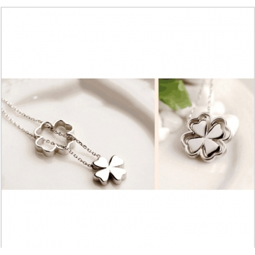925 Sterling Silver Pendants Necklaces Shiny Lucky Clover Necklaces  Women Party Wedding Necklaces 2*silver 40cm