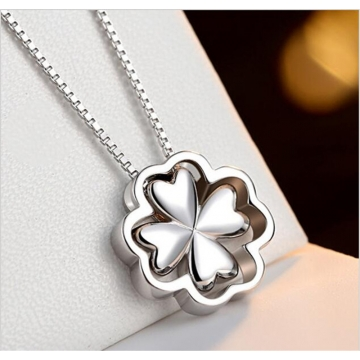 925 Sterling Silver Pendants Necklaces Shiny Lucky Clover Necklaces  Women Party Wedding Necklaces silver 40cm