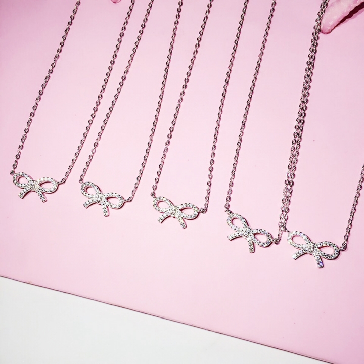 Silver Full Diamond Bow Necklace Pendant Necklaces Full Shiny New Fashion Women Jewelry 2*silver 50cm