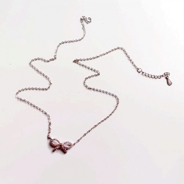 Silver Full Diamond Bow Necklace Pendant Necklaces Full Shiny New Fashion Women Jewelry silver 50cm