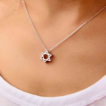 Women  925 Sterling Silver Six Star Angle Pendant Necklaces with Clear Zircon Geometric Jewelry silver 40cm