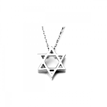 Women  925 Sterling Silver Six Star Angle Pendant Necklaces with Clear Zircon Geometric Jewelry 2*silver 40cm