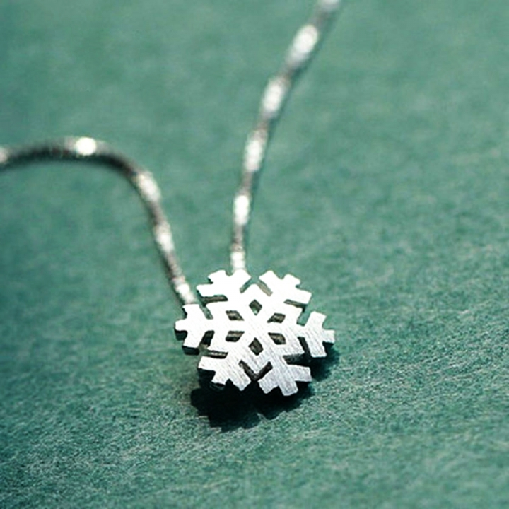 Fashion  Christmas Gift S925 Sterling Sliver Necklace  Sliver Snow Pendants Chain Necklace silver 40cm