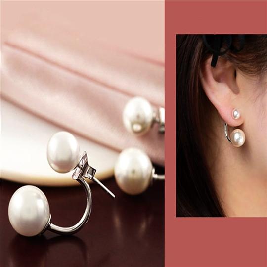 Fashion Women Double Pearl Earrings Wedding Ear Stud Crystal Rhinestone Jewelry white 8mm*8mm