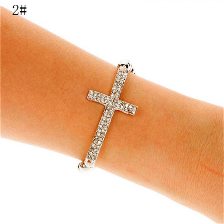 NEW Fashion Women Cross Love Infinity Crystal Style Bracelet Bangle 2*2# 23mm x 45mm