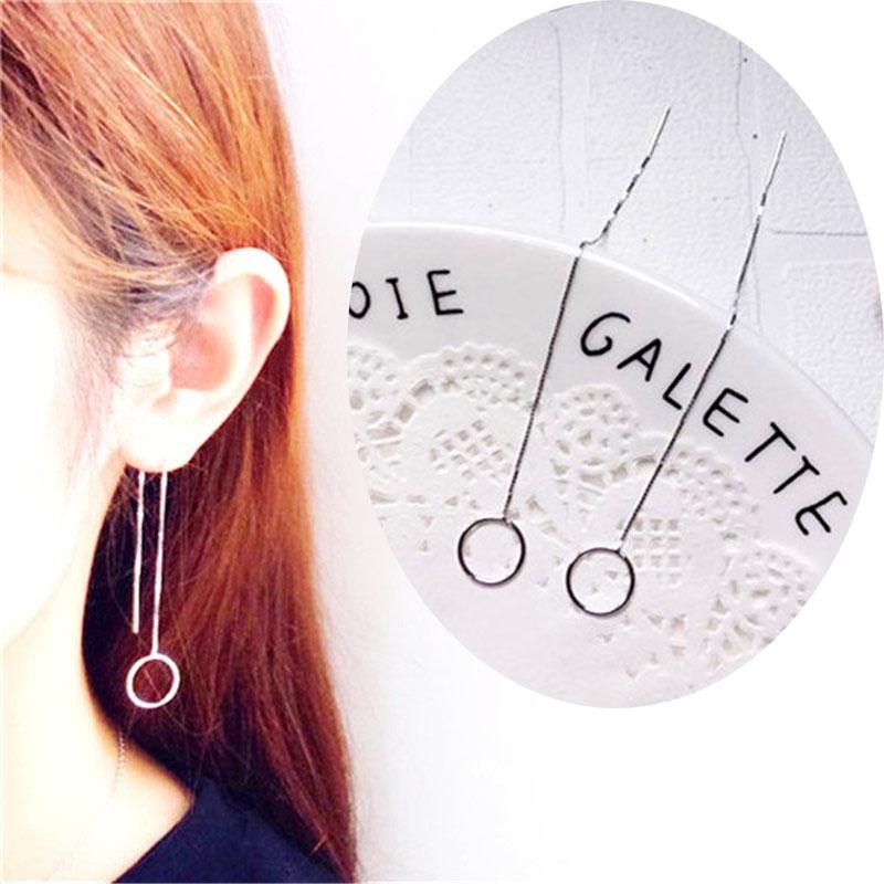 4bb21893a0497 925 Sterling Silver Long Dangle Drop Threader Earrings Square Triangular  Circle Thread Line Chain 2# 11mm