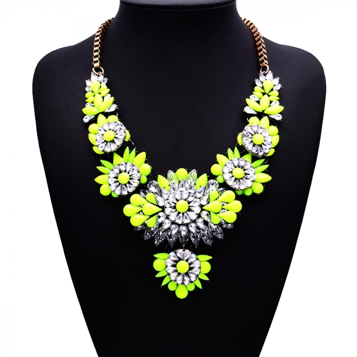 High-end Retro Big Exaggerated Fashion Resin Zinc Alloy Necklace Sweater Chain Clavicle Yellow 26X9CM
