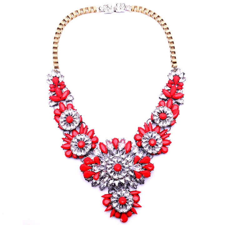 High-end Retro Big Exaggerated Fashion Resin Zinc Alloy Necklace Sweater Chain Clavicle Red 26X9CM
