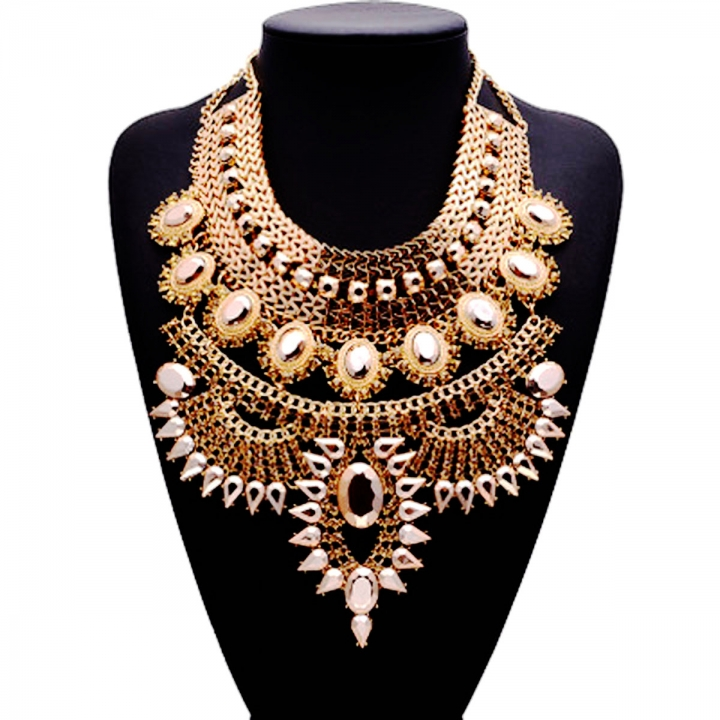 Women Vintage Alloy Crystal Exaggerated Chunky Statement Bib Necklaces Gold 26x9cm