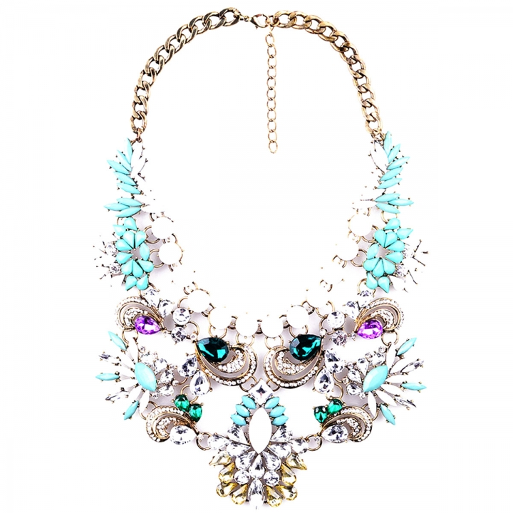 Fashion Pendants Exaggerated Big Crystal Acrylic Big Chain Statement Necklace Green 26x9cm