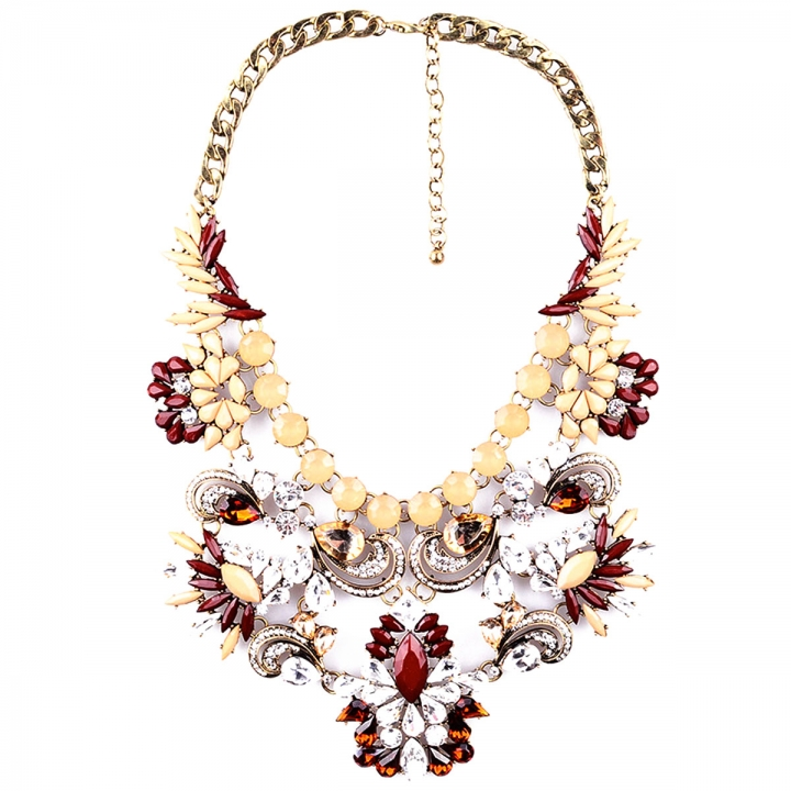 Fashion Pendants Exaggerated Big Crystal Acrylic Big Chain Statement Necklace Gold 26x9cm